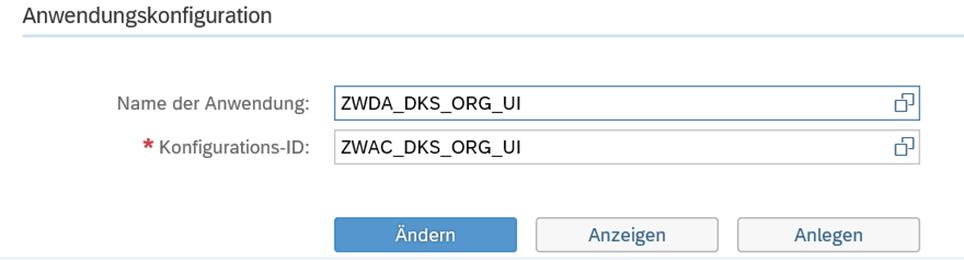 Anlage der Anwendungskonfiguration zur Beispielanwendung