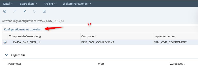 Der Button Konfigurationsname zugewiesen werden, soll angeklickt werden