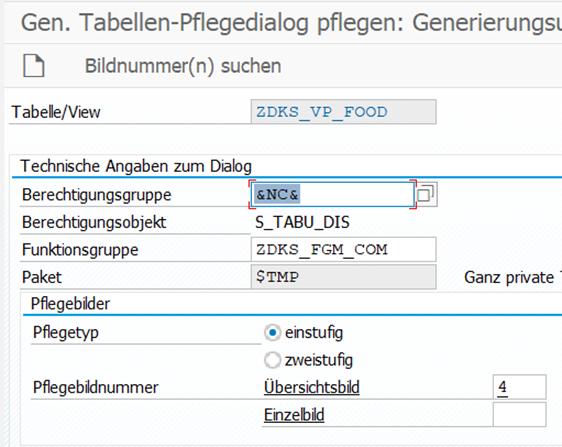 Einstufige Tabelle-Pfelgedialog Generation von den Pflege View ZDKS_VP_FOOD