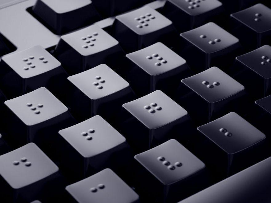 Abgebildet ist eine Braille-Tastatur