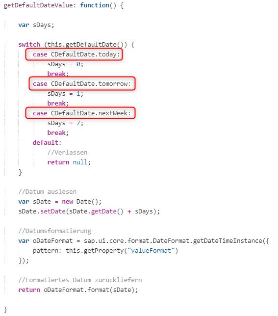 Aufräumen der Methode getDefaultDateValue (Kundenerweiterungen von SAPUI5 Controls)