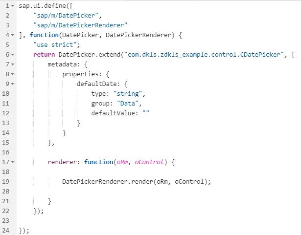 Hinzufügen des Attributes defaultDate zum Kunden DatePicker für Kundenerweiterungen von SAPUI5 Controls