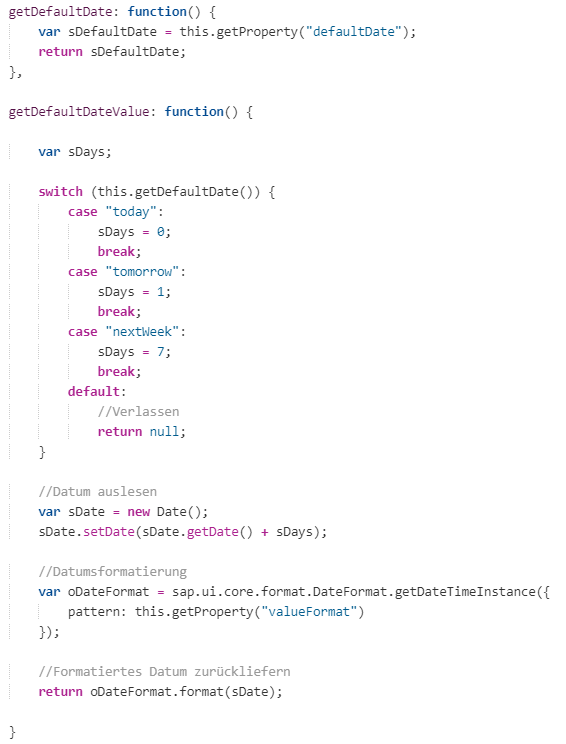 Implementierung von Methoden zum lesen der Werte des defaultDate Attributes