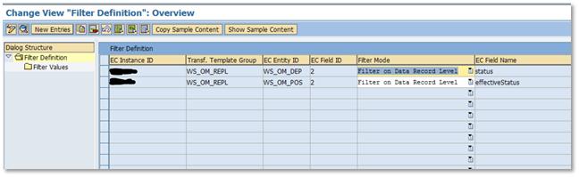 Set filter for OM replication in business integration builder
